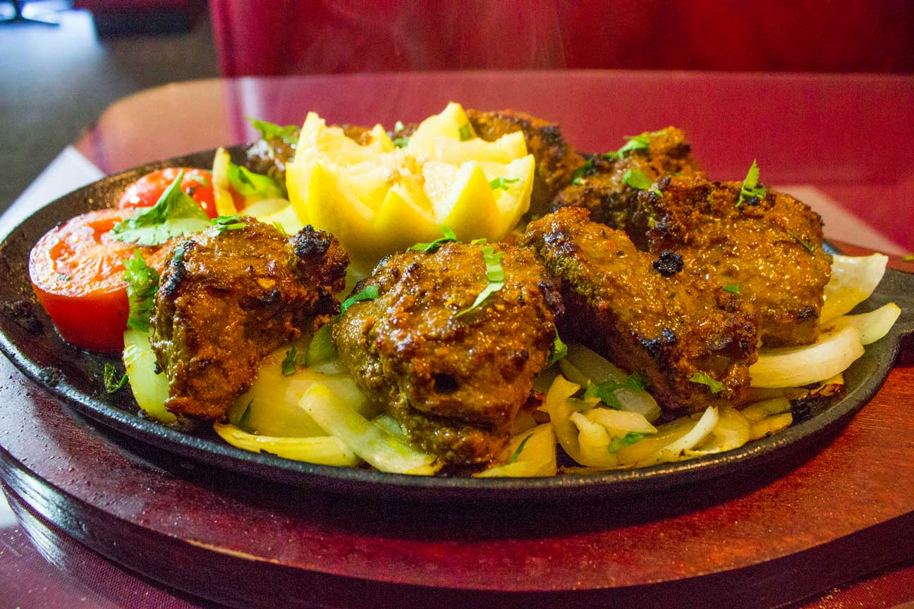 delicious lamb boti kabab sizzler at hilltop indian restaurant
