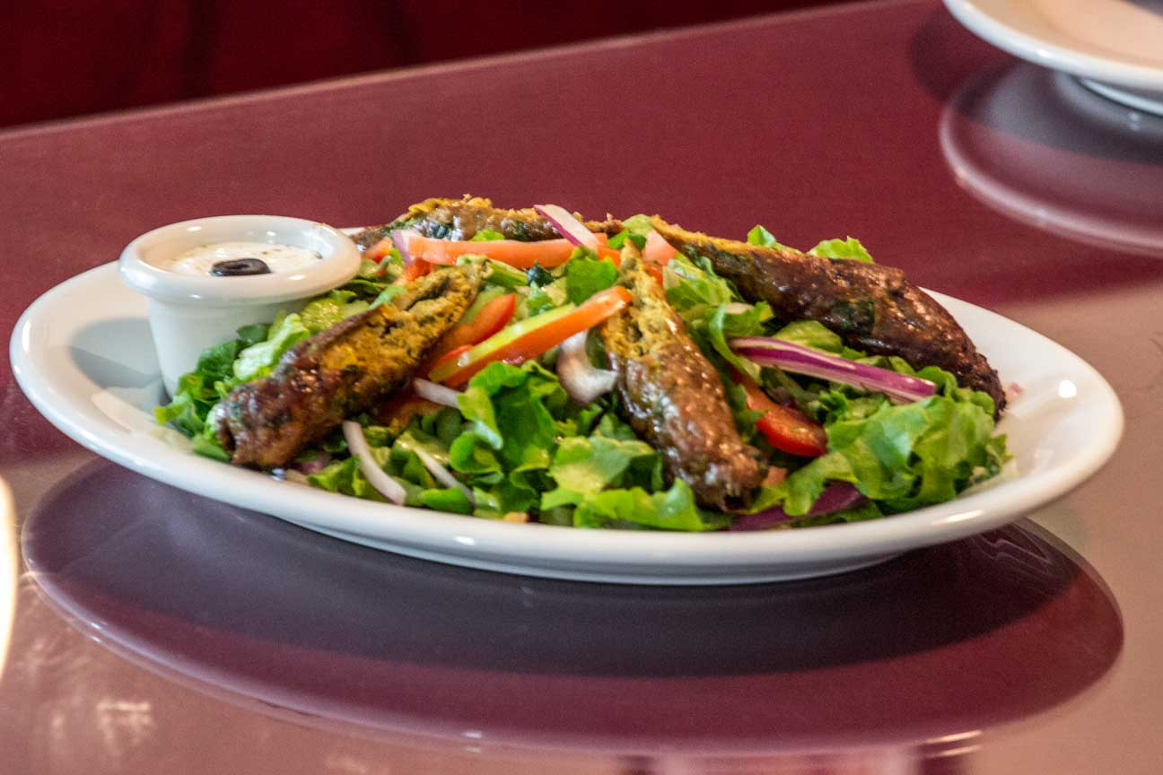 seekh kabab salad fresh and delicious.